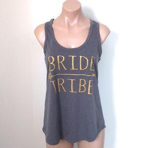 Tops - Bride Tribe Arrow Gray & Gold Tank Top